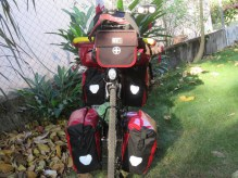 He is packed and ready to go again, except the for guitar which gets strapped behind the seat.