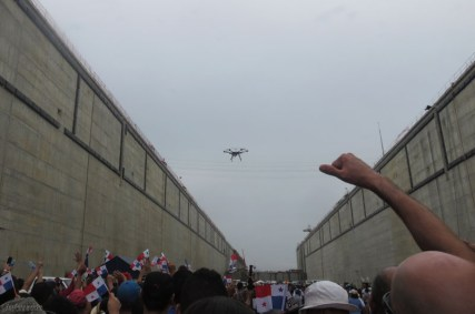 There was a drone making passes overhead, and when it went over everyone would cheer and wave their flags.