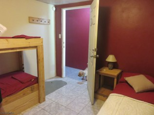 This is a family room with a double bed and two bunk beds. The dog kept an eye on us just because that's his job.