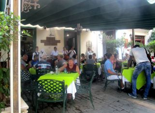 an outdoor restaurant with music