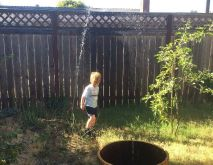 A broken sprinkler head that makes a fountain is great fun on a warm summer day