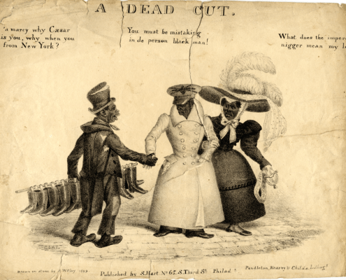 """What does the imperdent nigger mean, my love."" Edward Clay, ""Life in Philadelphia"": A Dead Cut, published by S. Hart, 1829. Courtesy, American Antiquarian Society."