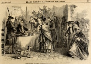 Women Voting in New Jersey in the Late Eighteenth Century. From Frank Leslie's Illustrated Newspaper, Nov. 12, 1864.