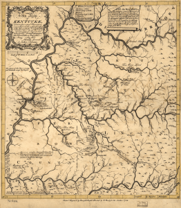 Map of Kentucke published in 1784 along with The Discovery, Settlement and Present State of Kentucke by John Filson. Courtesy Wikimedia Commons.