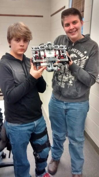 Noah Greenawalt and Sam Shelenberger also built robots in Mr. Patrick's class.