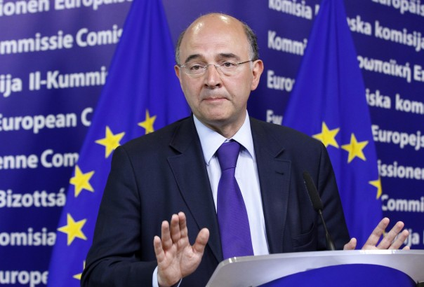 France's Minister of Economy Moscovici holds a news conference in Brussels