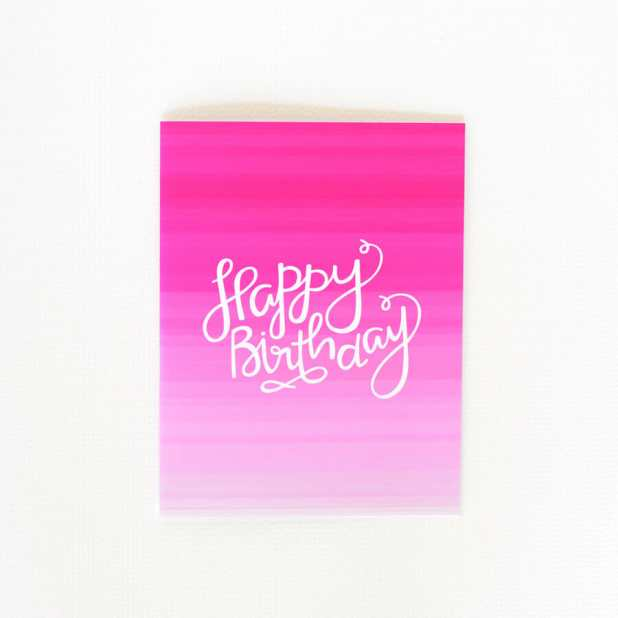 Ombre Pink - Birthday Card