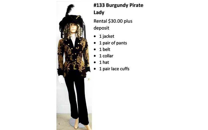 133 Burgundy Pirate Lady