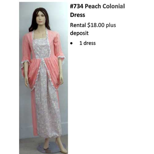 734 Peach Colonial Dress