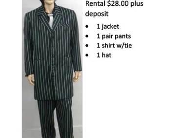 837B Green & White Stripes Zoot Suit