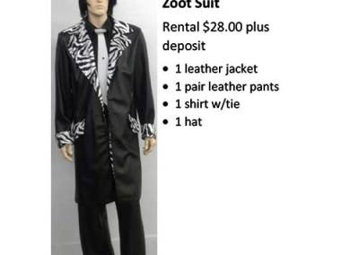 838 Leather Black/White/Zebra Zoot Suit