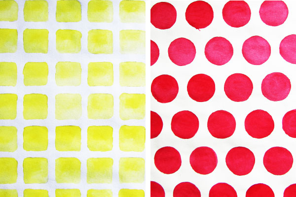 paint pattern example yellow square pink circle