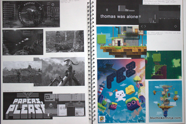 video game research in sketchbook