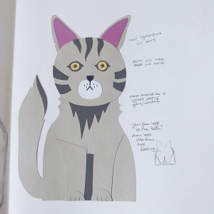 developing a character in the sketchbook