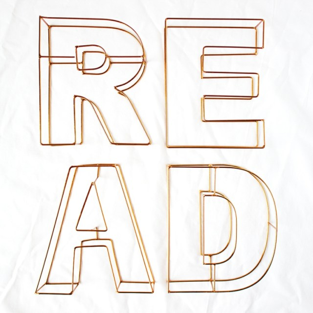 bookstagram metal letters spelling out the word read