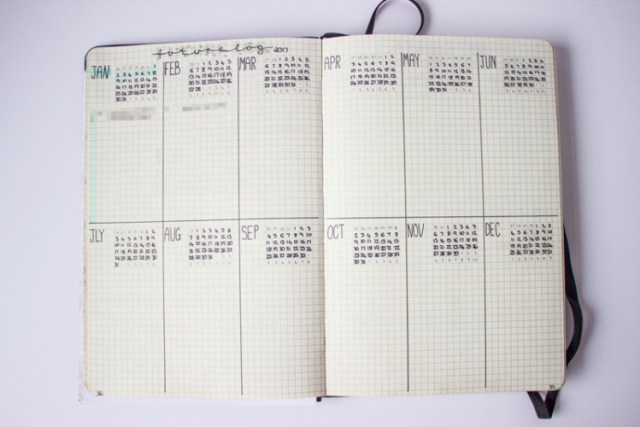 yearly overview bullet journal set up