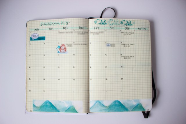 monthly spread in agenzio paperchase bullet journal