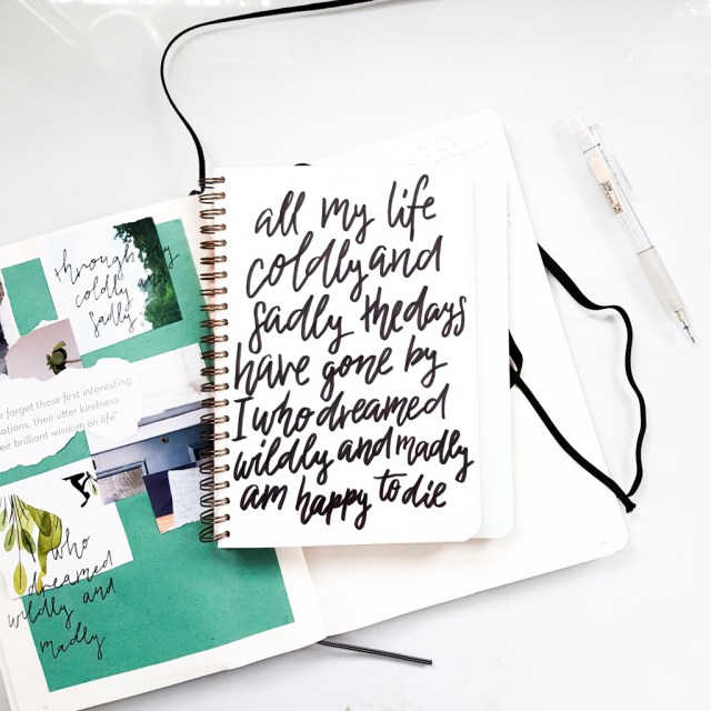 example of modern calligraphy done in mossery notebook