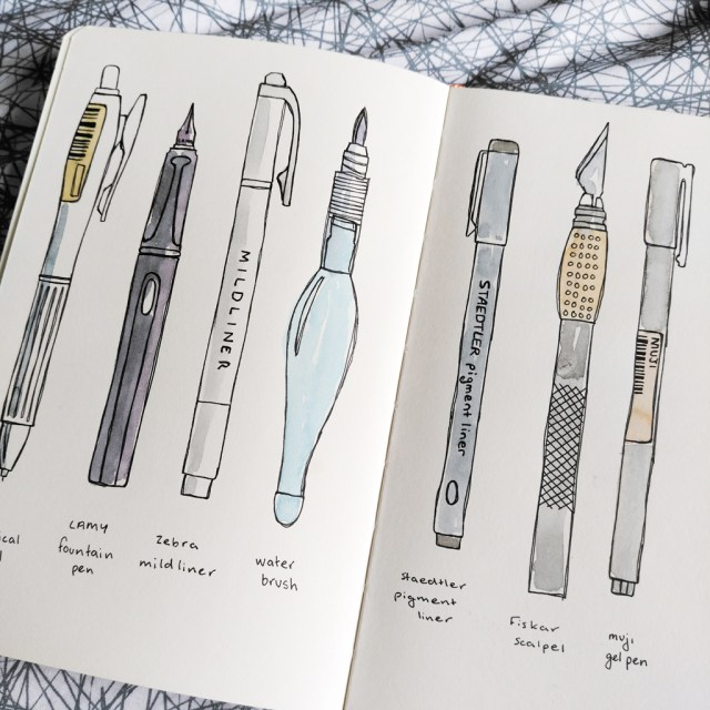 sketchbook page showing illustration of tools used to create artwork (pen, mechanical pencil, highlighter, waterbrush, artists knife)