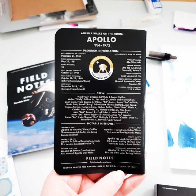 Field Notes memo notebook with Apollo program information on back cover