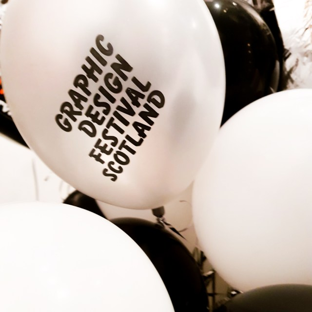 balloon with graphic design festival scotland printed on