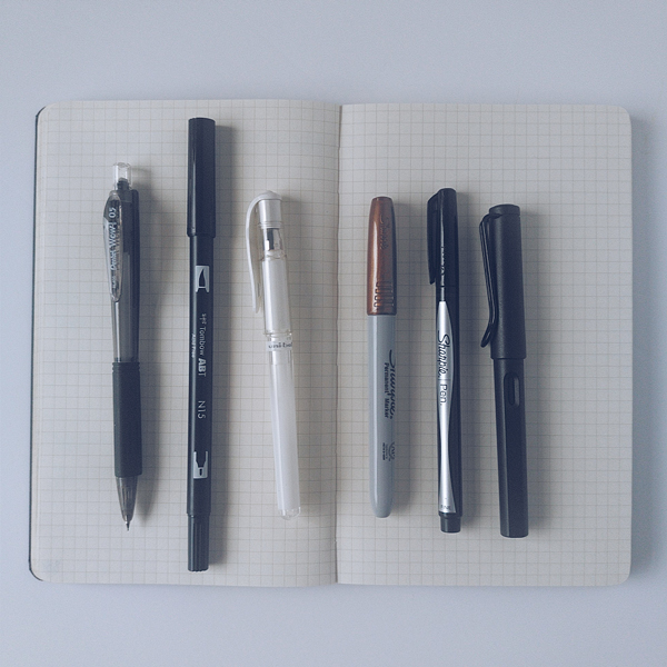 Pens I use for bullet journaling on open notebook page.