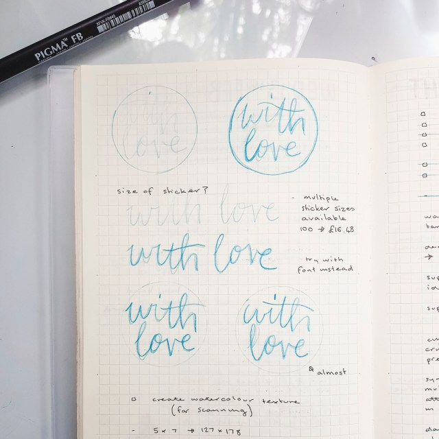 Hand lettering in a notebook.