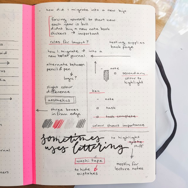My rules for using a bullet journal with examples of my key and headers.
