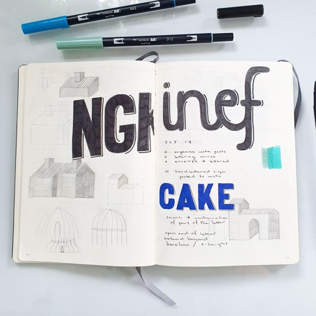 Using markers in my bullet journal.