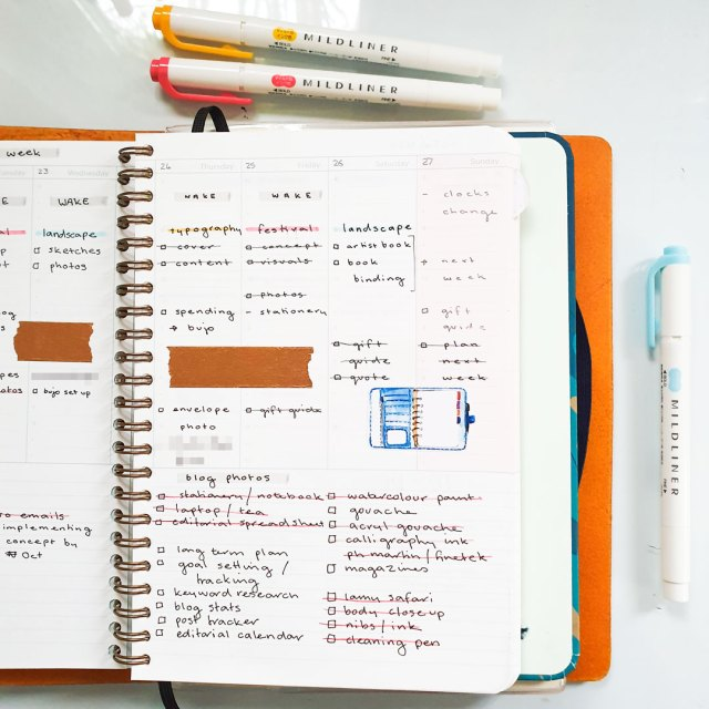 Mossery planner spread using colour coding as a way to organise tasks.