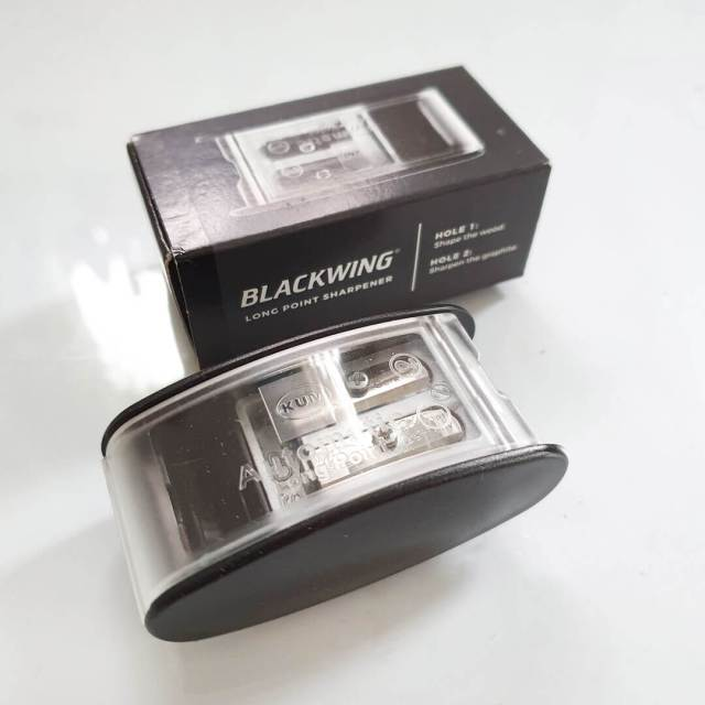 Image shows Blackwing edition of the KUM pencil sharpener.