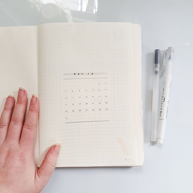 Image shows a simple monthly spread in a bullet journal.