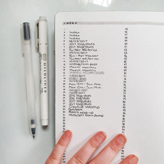 Image shows a bullet journal index on a notebook page.