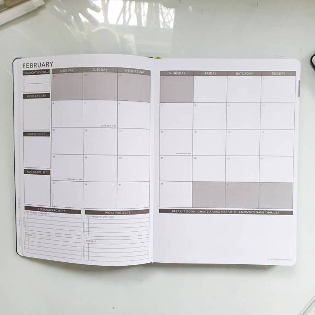 Example of a monthly spread.