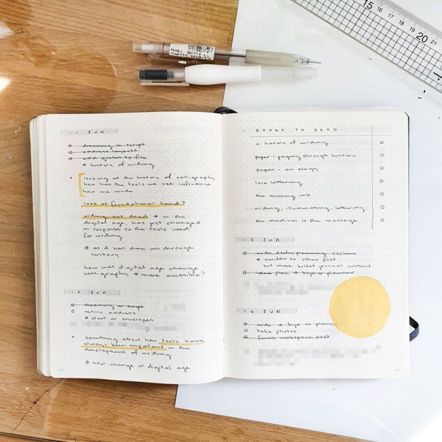 Image shows a double page spread in a bullet journal with daily logs and other notes.