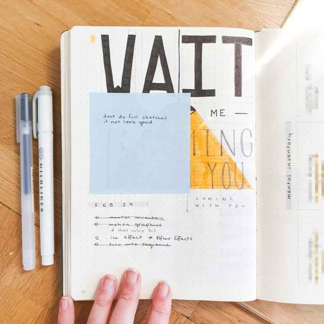 Image shows a page in a bullet journal.