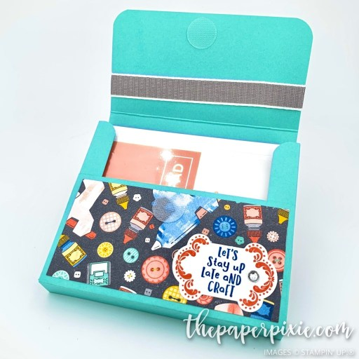 This is a handmade gift box for a Stampin' pad with the Follow Your Art Stampin' Up! paper and the sentiment says Let's stay up and craft.