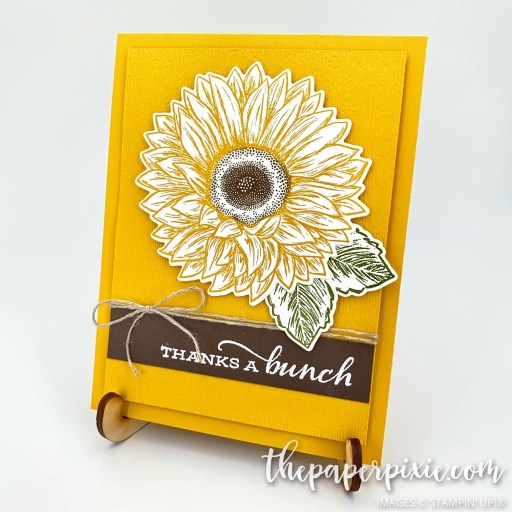 This is a handmade card made with the Celebrate Sunflowers Stampin' Up! bundle and the sentiment says thanks a bunch.