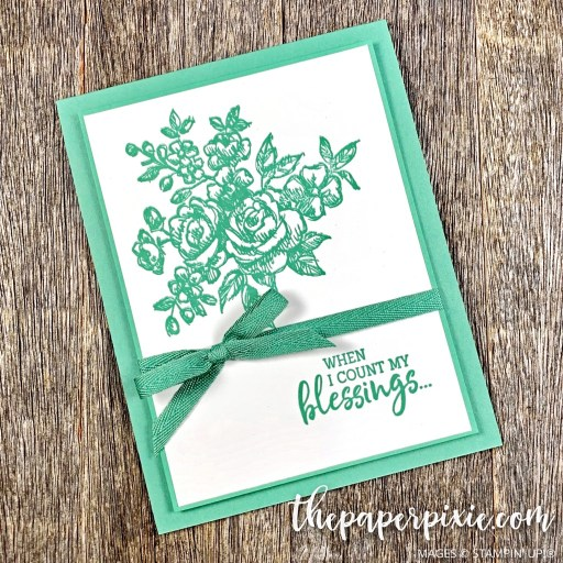 This is a handmade card stamped with the Fancy Phrases Stampin' Up! stamp set and the sentiment says when I count my blessings.