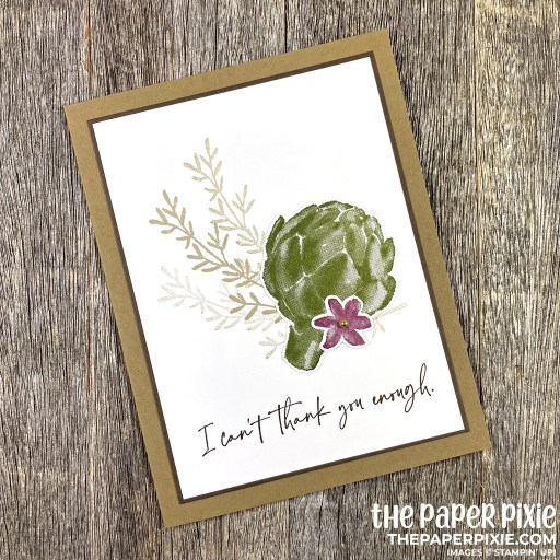 This is a handmade card stamped with the See the Good Stampin' Up! stamp set and the sentiment says I can't thank you enough.