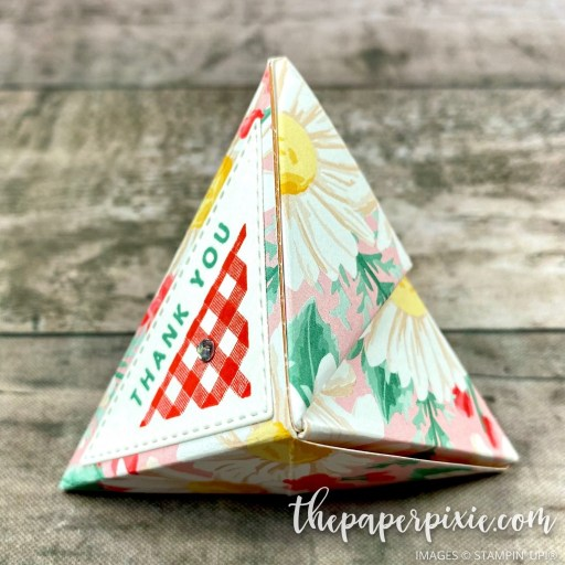 This is a handmade self-closing treat holder craft project created by the Paper Pixie using Stampin' Up! supplies.