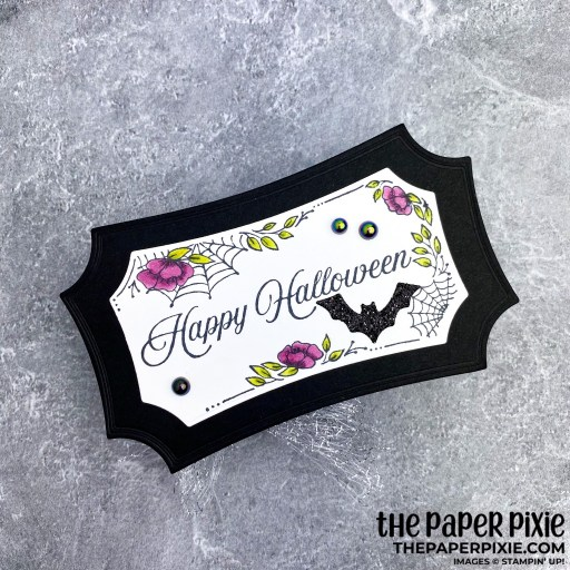 This is a handmade treat box craft project created by the Paper Pixie using Stampin' Up! Hallows Night Magic bundle and stamp set with the sentiment Happy Halloween.