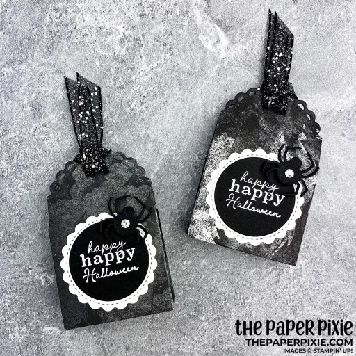 This is a handmade treat box craft project created by the Paper Pixie using Stampin' Up! Little Treats bundle and the sentiment says happy happy halloween.