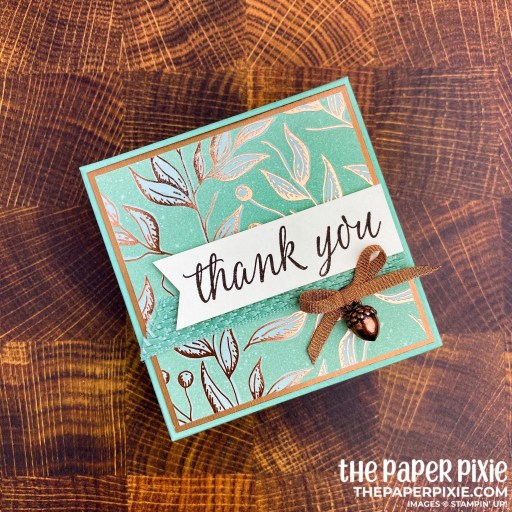 This is a handmade gift box craft project created by the Paper Pixie using the Stampin' Up! Gilded Autumn product suite.