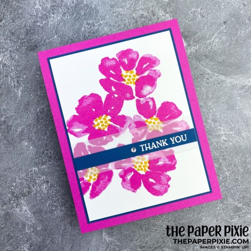 This is a handmade card stamped with the Blossoms in Bloom Stampin' Up! stamp set and the sentiment says thank you.