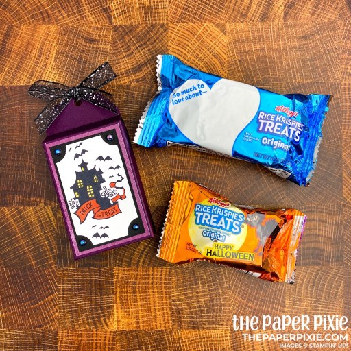 This is a handmade treat box craft project created by the Paper Pixie using the Stampin' Up! Everything Essential bundle and the sentiment says trick or treat.