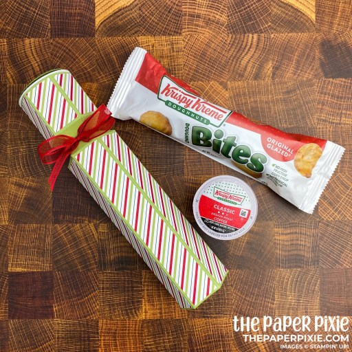 This is a handmade coffee and doughnuts gift box craft project created by the Paper Pixie using Stampin' Up! Warm Hugs bundle.