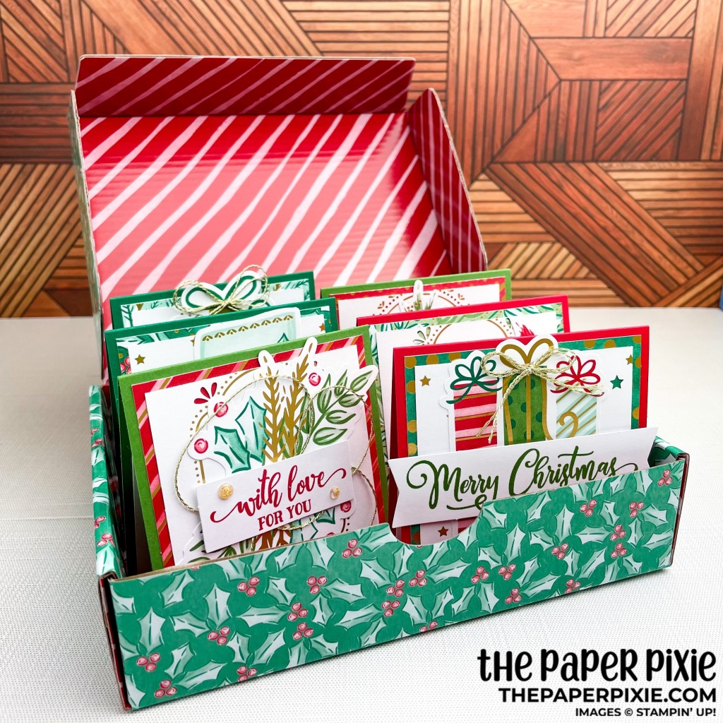These are handmade cards stamped with the Tag Buffet Stampin' Up! stamp set and Tag Buffet kit with various Christmas sentiments.