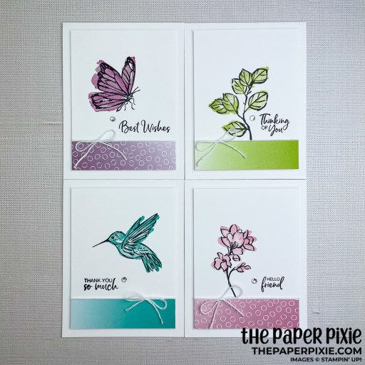 This is a handmade card stamped with the A Touch of Ink Stampin' Up! stamp set.
