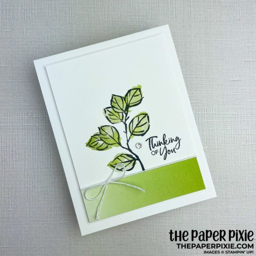 This is a handmade card stamped with the A Touch of Ink Stampin' Up! stamp set and the sentiment says thinking of you.